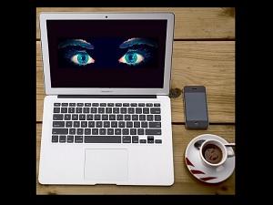 eyes on laptop screen