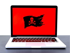 pirate flag on laptop monitor