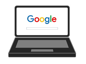 laptop with google on screen