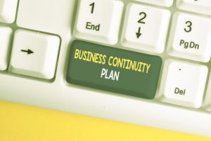 Concept image with Business Continuity Plan button on computer keyboard