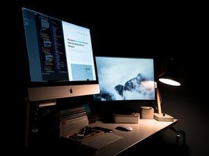 monitors in dark room